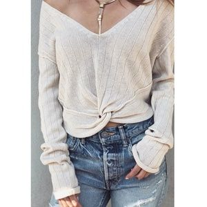Free People Got Me Twisted Sweater Ivory